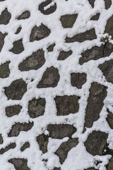 stone background with snow