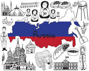 Travel to Russia doodle drawing icon with culture, costume, landmark and cuisine tourism concept in isolated background, create by vector
