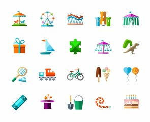 Children's games and entertainment, icons, color, vector. Vector icons of items and objects for children. Children's rest. Colored images on a white background with shadow.