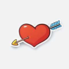 Cartoon sticker heart and arrow