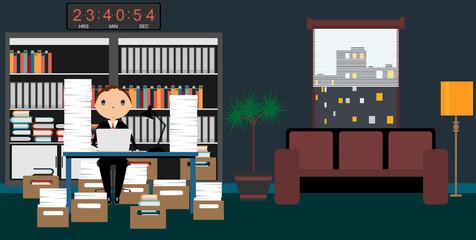 Office design over office scene backgrouns