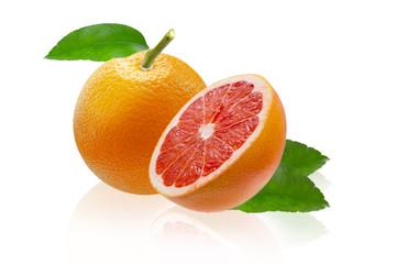 Grapefruit and orange isolated on white background
