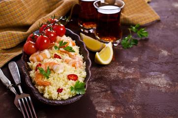 Couscous with shrimp