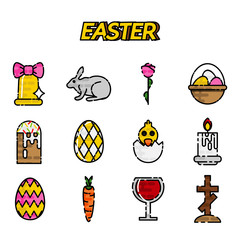 Easter flat styled icons set over white.