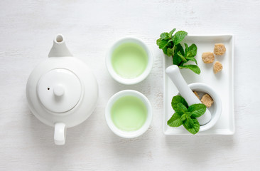Fresh mint tea concept