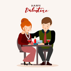 Couple having dinner, Valentines day greeting card, vector illustration