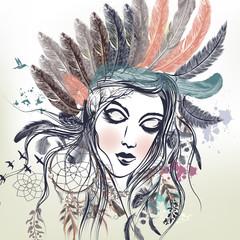 Fashion illustration with female face, boho style