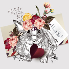 Beautiful  rabbit holding red heart and roses. I love you