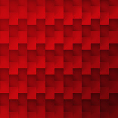 Volume realistic vector red texture, cubes, steps geometric pattern, design wallpaper