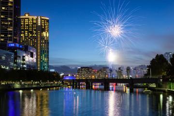 Melbourne Skyline with Fireworks at Dusk
