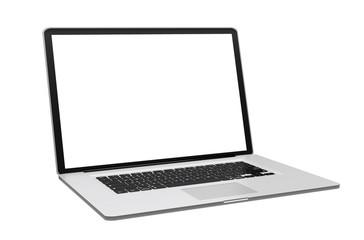 Modern metallic laptop on white background 3D rendering