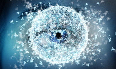 Close-up of woman digital eye network concept 3D rendering