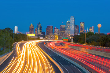 Fotomurales - Dallas downtown skyline at twilight, Texas