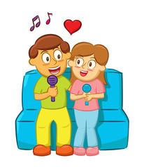 Young Couple Singing While Sitting Cartoon Illustration