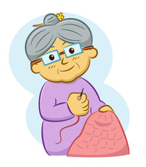 Grandmother Knitting Cartoon Character. Vector Illustration of Senior Woman.