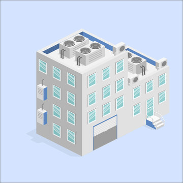 isometric facade of building. Flat 3D illustration Factory