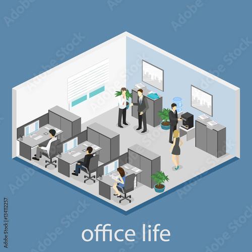 "3d Floor Plan Isometric: ""Flat 3d Isometric Abstract Office Floor Interior"