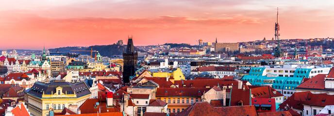 Beautiful Sunset in Prague, Czech Republic.
