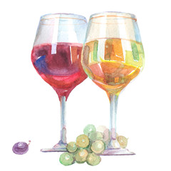 Watercolor wine glasses with white and red wine inside isolated on a white background illustration.