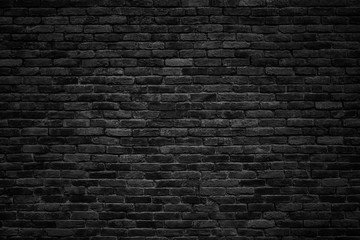 black brick wall, dark background for design Fotobehang