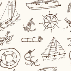 seamless pattern vector yachting doodle icons. Isolated objects.