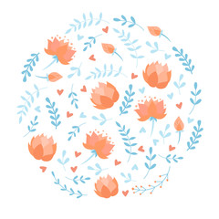 Silhouette of circle with doodle cartoon vector floral elements, birds, flowers, lotus and butterfly