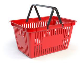 Red empty  shopping basket isolated on white background
