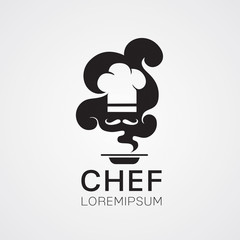 Vector of chef cooking with smoke
