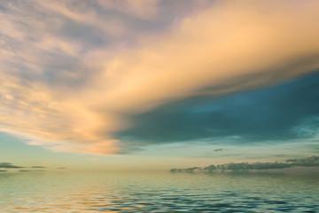 Sunrise in the sea. Summer