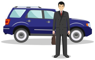 Asian businessman standing near the blue car on white background in flat style. Business concept. Flat design people character. Vector illustration.