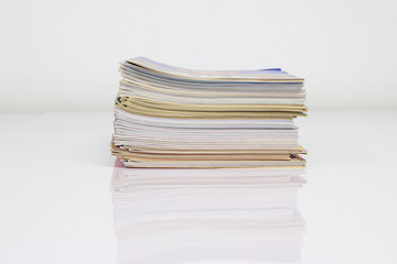 Stack of a magazine paper file on a table