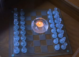 Teelicht mit Schachbrett