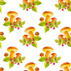Watercolor seamless pattern with hand painted forest plants, mushrooms, leaf and berries.in bright cartoon style