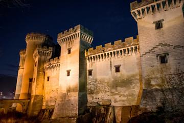 Le château Médiéval de Tarascon, centre d'arts René d'Anjou, de nuit