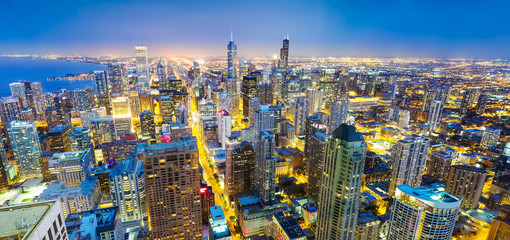 Panorama Chicago cityscape at coast, night view