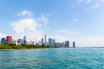 Cityscape of Chicago in a summer day