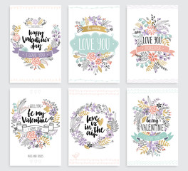 Wall Mural - Valentine`s Day Callygraphic Floral set - hand drawn