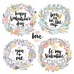 Fototapete - Valentine`s Day Callygraphic Floral set - hand drawn