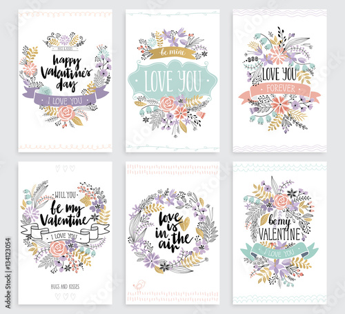 Wall mural Valentine`s Day Callygraphic Floral set - hand drawn