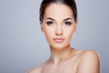 Beauty portrait of model with nude make-up