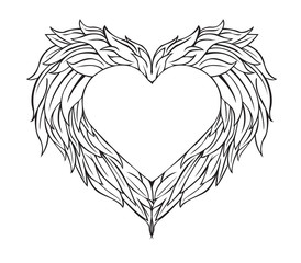 Design Winged Heart on Valentine's Day.vector and illustration