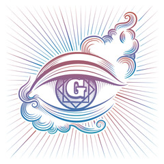 Colorful spiritual eye vector design isolaed on white background