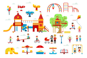 Set of children playground elements and attractions for kids vector flat illustration for infographic design. Swings, sandbox, treehouse, slide isolated on white background. Family walking in the park