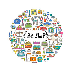 Decorative cover with hand drawn colored goods for pet shop. Vector background for use in design