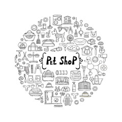 Decorative cover with hand drawn goods for pet shop. Vector background for use in design