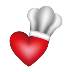 realistic silhouette of chefs hat with heart vector illustration