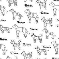 Vector seamless pattern with hand drawn isolated dogs on white color. Background for use in design