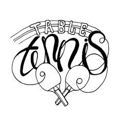 Vector table tennis lettering composition black on white