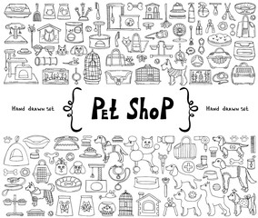 Vector set with hand drawn isolated isolated doodles on the  theme of pet shop. Sketches for use in design