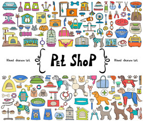 Vector set with hand drawn isolated colored doodles on the  theme of pet shop. Sketches for use in design